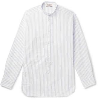 Man 1924 Grandad-Collar Striped Cotton Half-Placket Shirt