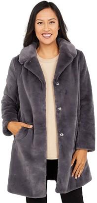 Love Token Chris Faux Fur Button Front Coat (Carbon) Women's Coat