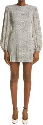 Saint Laurent Zebra Long Blouson Sleeve Crepe Minidress