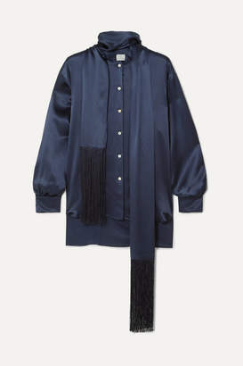 Hillier Bartley Fringed Silk-satin Shirt - Navy
