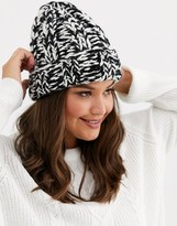 Asos Design DESIGN chunky mix knit beanie in black and white