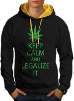 Keep Calm & Legalize It Weed Men NEW L Contrast Hoodie | Wellcoda