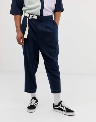 Asos Design DESIGN drop crotch tapered smart trousers in navy with long ended belt and metal d-ring