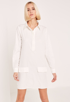 Missguided White Low Pocket Half Placket Shirt Dress