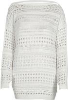 River Island Womens White knit open stitch V back jumper