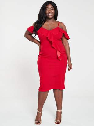 AX Paris Curve Frill Front Bodycon Dress - Red