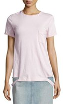 Helmut Lang Slashed-Hem Cotton Jersey Tee, Pale Mauve