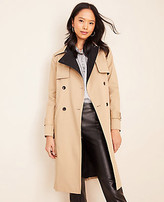 Ann Taylor Petite Two Tone Belted Trench Coat