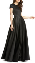 Mac Duggal 6-Week Shipping Lead Time Beaded Cap-Sleeve A-Line Satin Gown