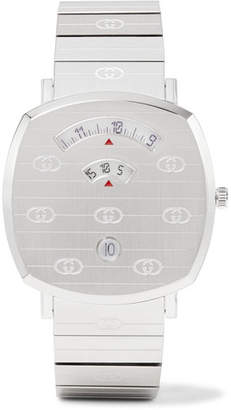 Gucci Grip 38mm Logo-Engraved Stainless Steel Watch