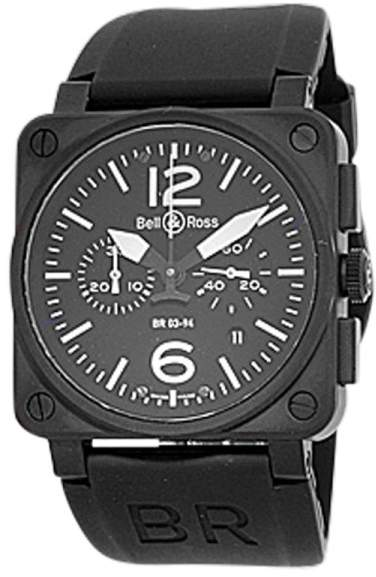 """Bell & Ross BR03-94"""" Stainless Steel Carbon Finish Chronograph Mens Strap Watch"""