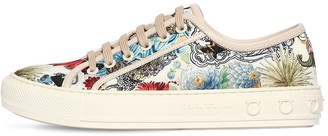 Salvatore Ferragamo 20mm Borg Treated Printed Satin Sneakers
