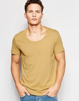 Weekday Daniel Scoop Neck T-Shirt in Beige