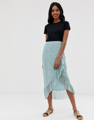 New Look mesh midi wrap skirt in blue pattern