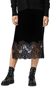 AllSaints Bridgette Lace Trim Velvet Skirt
