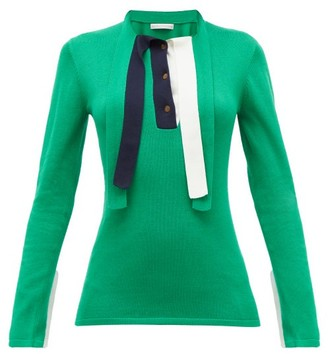 Palmer Harding Palmer//harding - Revan Tie-neck Cotton And Modal Jersey Sweater - Green