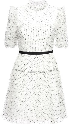Self-Portrait Polka Dot Pleated Mesh Mini Dress