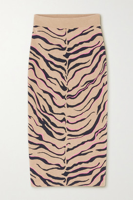 Stella McCartney Jacquard-knit Wool-blend Midi Skirt - Beige