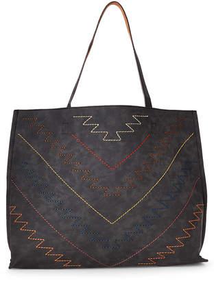 Street Level Black & Brown Stitched Reversible Shoulder Bag