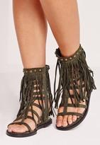 Missguided Tassel Ankle Cuff Flat Gladiator Sandals Khaki