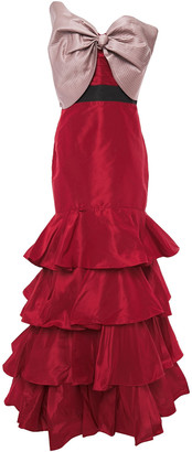 Johanna Ortiz La Viajera Strapless Bow-embellished Silk-blend Duchesse-satin Gown