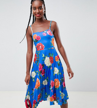 ASOS DESIGN Tall scuba floral cami pleated midi prom dress