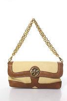Tory Burch Beige Brown Canvas Leather Shoulder Handbag