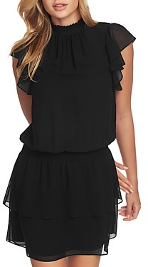 1 STATE Mock Neck Flutter Mini Dress