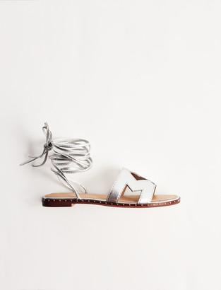 Maje Leather tie sandals