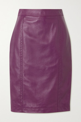Saint Laurent Leather Skirt - Purple