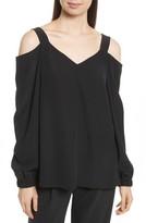 Tibi Women's Strappy Crepe De Chine Cold Shoulder Tunic