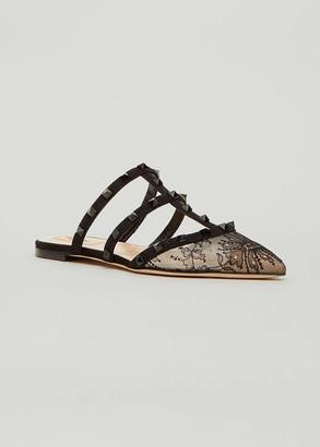 Valentino Rockstud Lace Flat Slide Mules