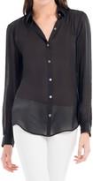 Max Studio Translucent Silk Charmeuse Shirt