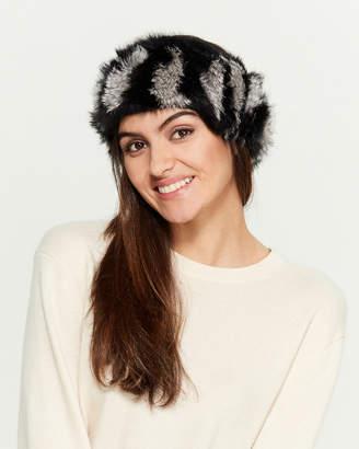 C Lective Black & Grey Real Fur Headband