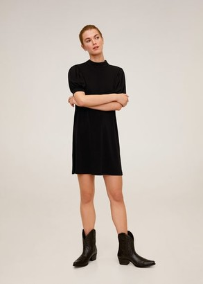 MANGO Puffed sleeves short dress black - 2 - Women