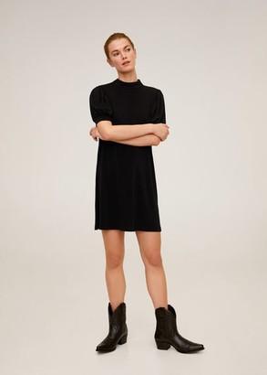 MANGO Puffed sleeves short dress black - 6 - Women