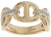 QVC As Is Status Link Ring with Diamond Accents 14K Gold
