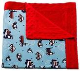 Evergreen Planes and Trains Printed Minky Dot Baby Blanket