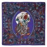 Astrid Sarkissian Death's-head Blue large square silk scarf