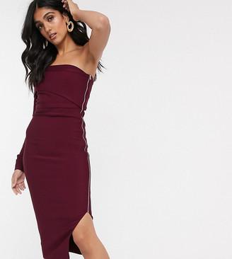 Asos Tall ASOS DESIGN Tall one shoulder bandage midi dress in plum