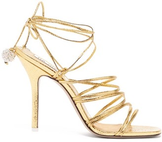 ATTICO The Crystal-embellished Leather Heeled Sandals - Womens - Gold