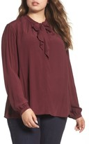 Lucky Brand Plus Size Women's Tie Neck Blouse