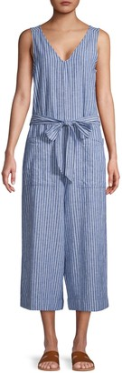 BeachLunchLounge Beach Lunch Lounge Stripe Linen Cotton Jumpsuit