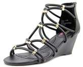 XOXO Sybil Women Open Toe Synthetic Black Wedge Sandal.