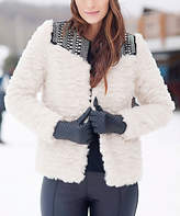 Ivory Embellished Faux Fur Sherpa Jacket - Plus Too