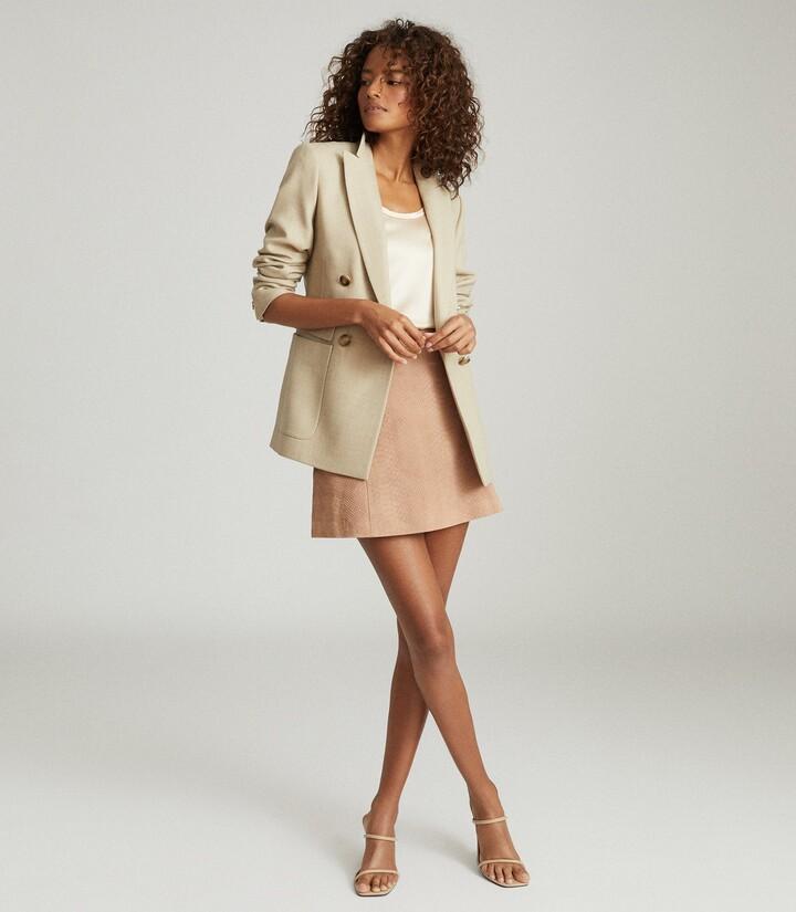 Reiss Tamarah - Snake Print Leather Mini Skirt in Neutral