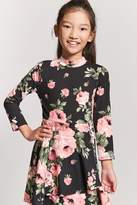 FOREVER 21 girls Girls Floral Wrap-Front Skater Dress (Kids)