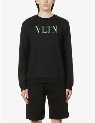 Valentino Brand-print crewneck cotton-blend jersey sweatshirt