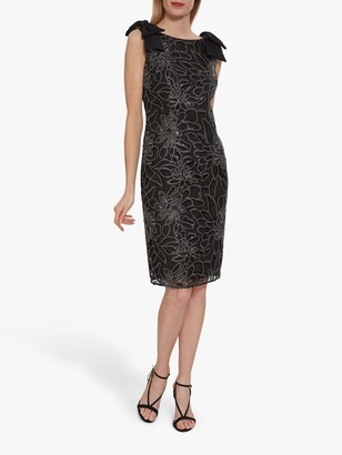 Gina Bacconi Norelli Embroidered Shift Dress, Black