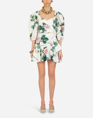 Dolce & Gabbana Short Tropical Rose Print Taffeta Dress